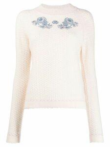 Vilshenko floral-embroidery crochet jumper - NEUTRALS