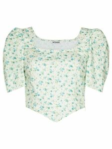 Batsheva floral print fitted blouse - White