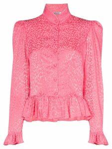 Batsheva ruffle peplum leopard print blouse - PINK