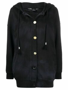 Pinko graphic-print buttoned hoodie - Black