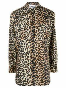 GANNI leopard print shirt - NEUTRALS