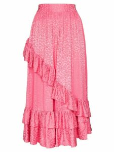 Batsheva diagonal ruffle midi skirt - PINK