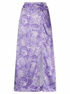 GANNI rose print slip skirt - PURPLE