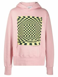 AMBUSH long sleeve optical illusion print hoodie - PINK