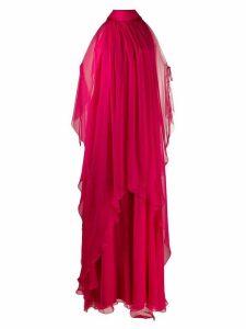 Alberta Ferretti cold shoulder layered dress - PINK