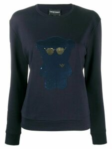 Emporio Armani sequined-bear sweatshirt - Blue