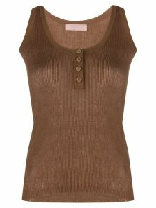 Drome scoop neck button down vest top - Brown