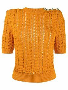 Balmain knitted short-sleeve jumper - ORANGE