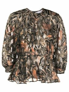IRO snakeskin-print ruffled blouse - Black