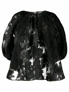 Cecilie Bahnsen floral embroidered puff blouse - Black