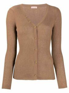 Drome long sleeve scoop neck cardigan - Brown