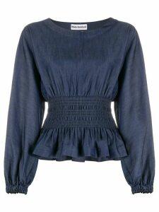 Molly Goddard cinched-waist peplum blouse - Blue
