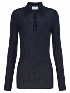 Prada ribbed knitted polo shirt - Blue