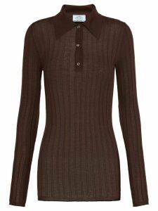 Prada ribbed polo shirt - Brown