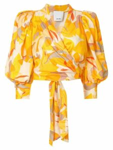 Acler Corsica abstract-print wrap blouse - ORANGE