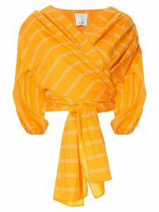 Acler striped tie blouse - ORANGE