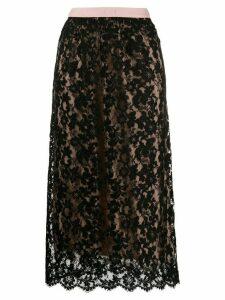 Gucci floral lace midi skirt - Black