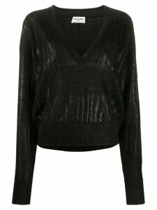 Saint Laurent Lamé striped panel jumper - Black