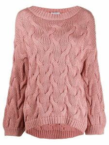 Brunello Cucinelli oversized cable knit jumper - PINK