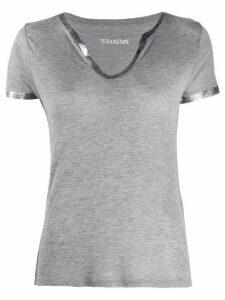 Zadig & Voltaire metallic-trim T-shirt - Grey