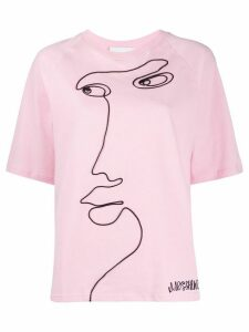Moschino face print T-shirt - PINK
