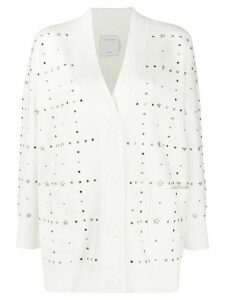 Sandro Paris crystal embellished cardigan - White