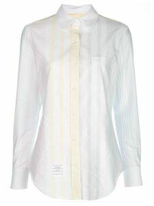 Thom Browne logo patch striped shirt - White