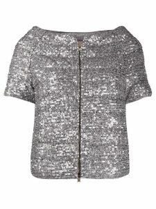 Herno sequin-embellished short-sleeved down jacket - SILVER