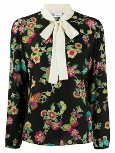 RedValentino floral print bow tie blouse - Black