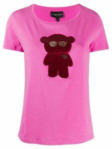 Emporio Armani bear-appliquéd T-shirt - PINK