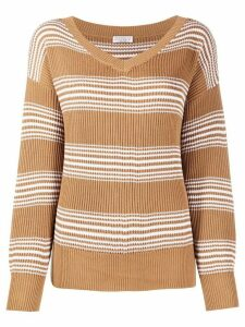 Brunello Cucinelli horizontal stripe jumper - Brown