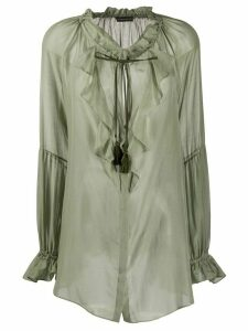 Etro ruffled sheer tunic - Green