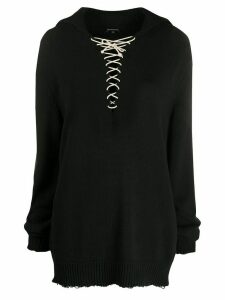 Ann Demeulemeester oversized lace-up jumper - Black