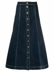 L'Autre Chose A-line button down denim skirt - Blue