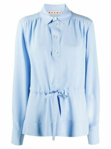 Marni drawstring-waist gathered blouse - Blue