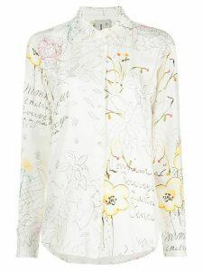 L'Autre Chose button down Notes & flowers print blouse - White
