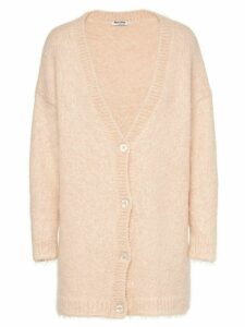 Miu Miu brushed mohair-blend cardigan - NEUTRALS
