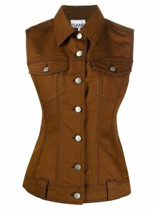 GANNI sleeveless denim gilet - Brown