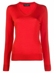 Dolce & Gabbana v-neck knitted jumper - Red