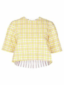 Rosie Assoulin check cropped T-shirt - Yellow