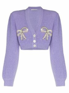 Alessandra Rich bow appliqué cardigan - PURPLE