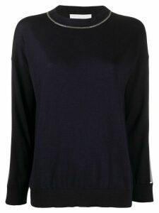 Fabiana Filippi satin-panel sweater - Blue