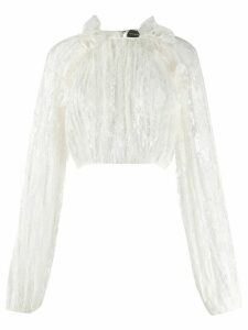 Magda Butrym ruffled trim lace detail blouse - White