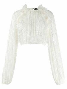 Magda Butrym ruffled trim lace detail blouse - White