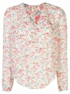 Veronica Beard floral print pleated detail blouse - PINK