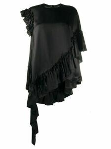 Simone Rocha asymmetric draped ruffle satin top - Black