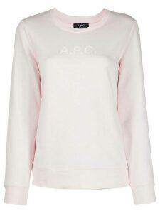 A.P.C. logo-print crew neck sweatshirt - PINK