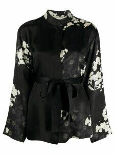 McQ Alexander McQueen floral print mandarin collar shirt - Black