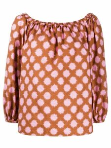 La Doublej Paloma Pom Pom off-the-shoulder shirt - Brown
