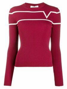Valentino logo jacquard crewneck jumper - Red